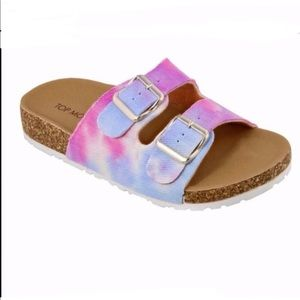 Tie dye double strap slides sandals NEW size 6.5